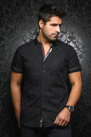 Au Noir Short-Sleeve Shirt | Herrera Black
