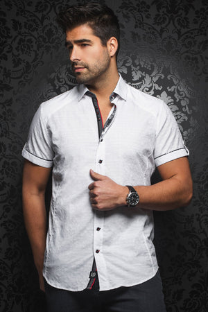 Au Noir Short-Sleeve Shirt | Herrera White