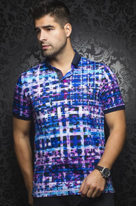 Au Noir Blue Short-Sleeve Stretch Resort Polo Shirt - Irving Turquoise Multi