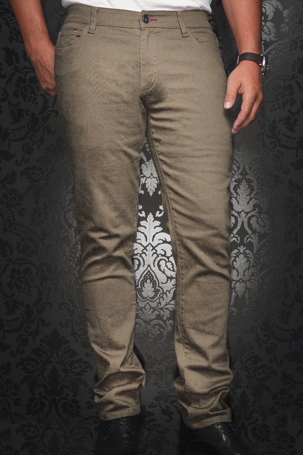 Au Noir Slim Fit Stretch Denim Jean - Beige
