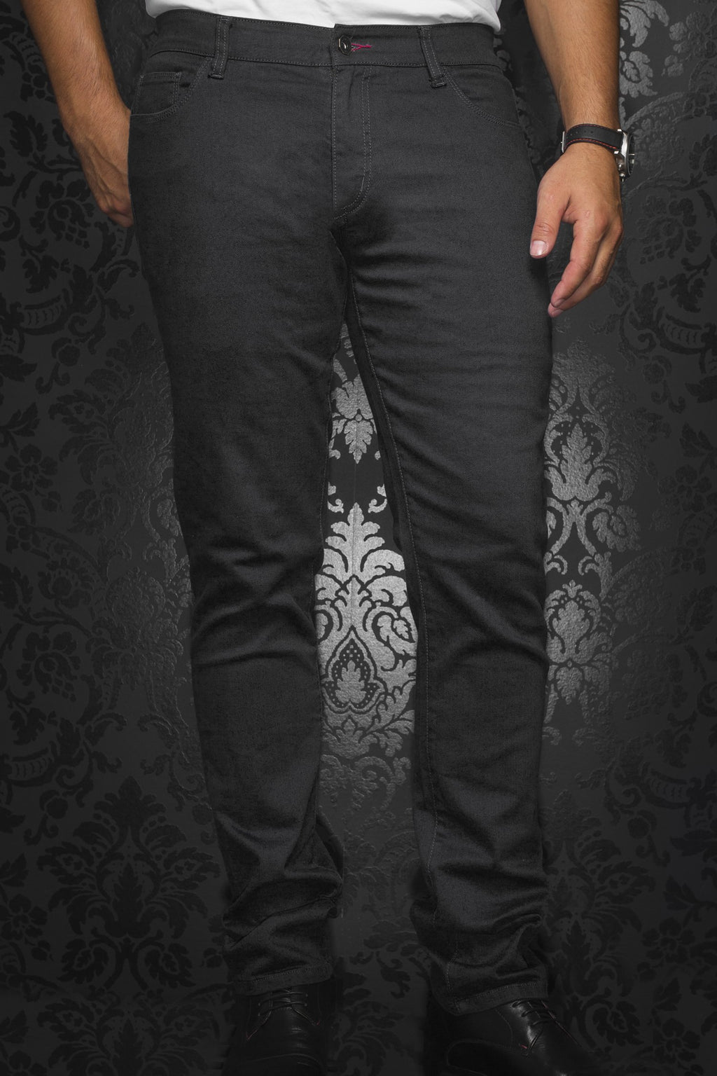 Au Noir Slim Fit Stretch Denim Jean - Black