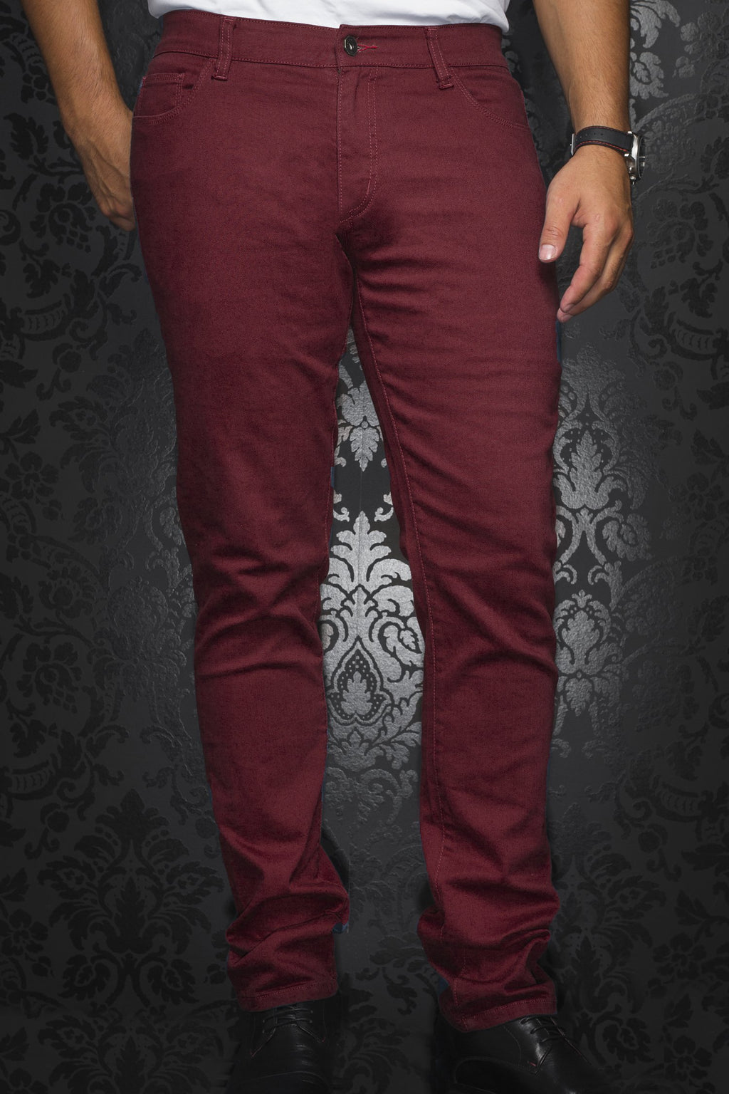Au Noir Slim Fit Stretch Denim Jean - Burgundy