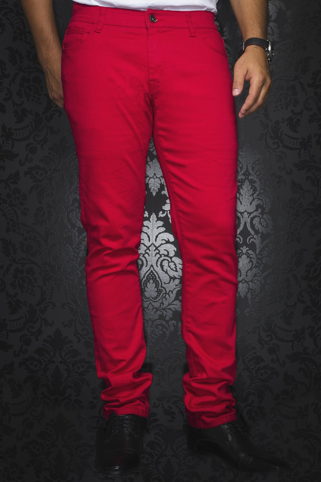 Au Noir Slim Fit Stretch Denim Jean - Red