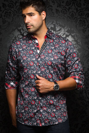 Au Noir Black Shirt - Lorca Black Red