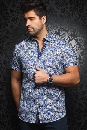 Au Noir Short-Sleeve Shirt | Manila  Floral Royal