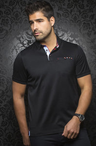Au Noir Black Short-Sleeve Night Out Polo Shirt - Messina Black