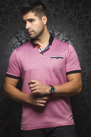 Au Noir Red Short-Sleeve Night Out Polo Shirt - Messina Red