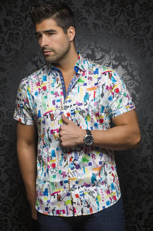 Au Noir White Short-Sleeve Resort Shirt - POLLOCK (SS) white