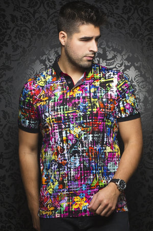 Au Noir Multicolor Short-Sleeve Stretch Resort Polo Shirt - Rodman Black