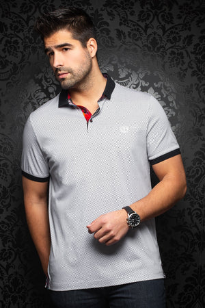 Au Noir Short-Sleeve Polo | Sierra White Grey
