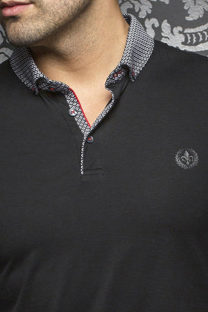 Au Noir Black Short-Sleeve Stretch Night Out Polo Shirt - Teddy Black