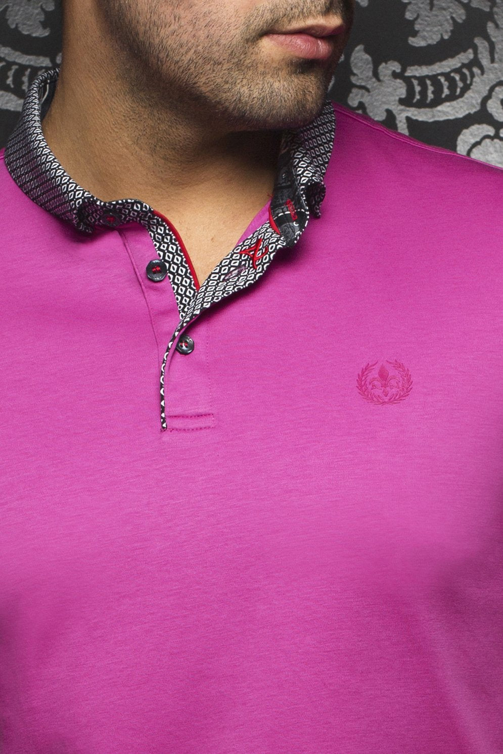 Au Noir Fushia Short-Sleeve Stretch Night Out Polo Shirt - Teddy Fuchsia