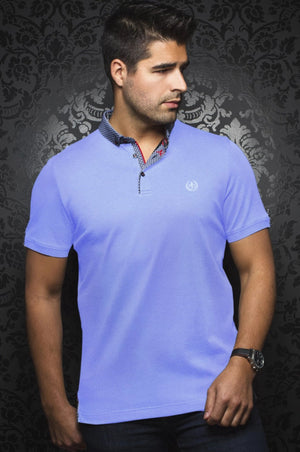 Au Noir Blue Short-Sleeve Stretch Night Out Polo Shirt - Teddy Lt Blue