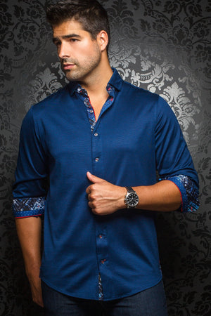 Au Noir Navy Stretch Shirt - Vega Navy