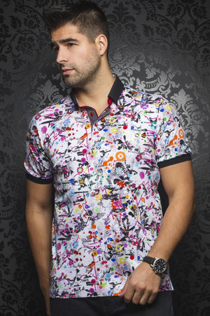 Au Noir Multicolor Short-Sleeve Stretch Resort Polo Shirt - Wade White