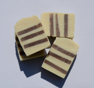 4 Beige soap bars with brown stripes