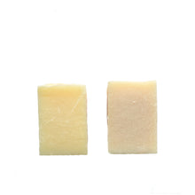 Load image into Gallery viewer, Two pale coloured soaps. Left one is pale yellow and right one is pale pink