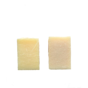 Two pale coloured soaps. Left one is pale yellow and right one is pale pink