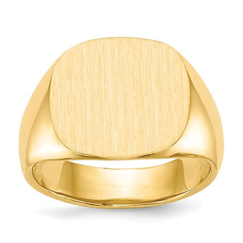 Gold Square Signet Ring 15.5x15