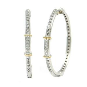 Sterling Silver and Yellow Gold Thin Diamond Hoops
