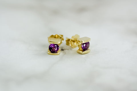 Amethyst Bar Set Earrings