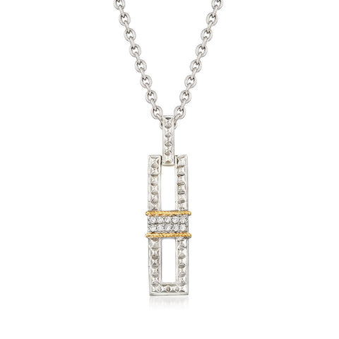 Sterling Silver and Yellow Gold Vertical Pendant with Diamonds
