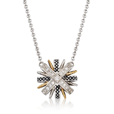 Sterling Silver and Yellow Gold Diamond Starburst Pendant