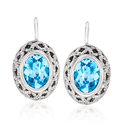 Sterling Silver Oval Blue Topaz Earrings