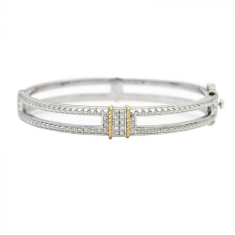 Sterling Silver and Yellow Gold Bangle with Diamonds