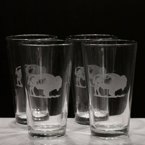 Buffalo Pint Glasses (Set of 4)