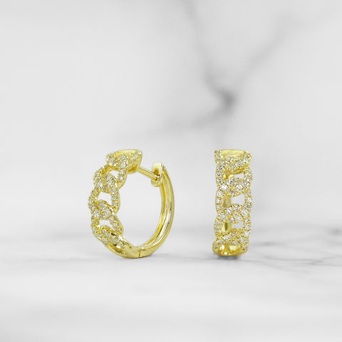 Yellow Gold Diamond Curb Link Hoop Earrings