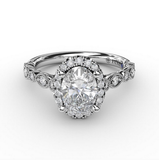 Diamond Engagement Ring with Detailed Milgrain Band