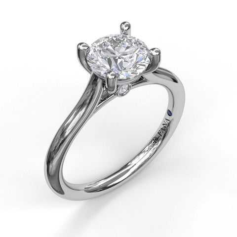Round Solitaire With Cathedral Band Engagement Ring