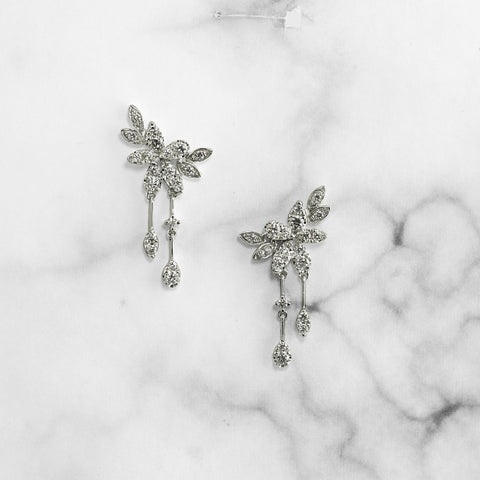 White Gold Floral Dangle Earring