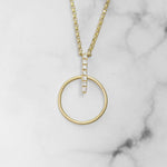 Gold Circle and Diamond Bar Pendant