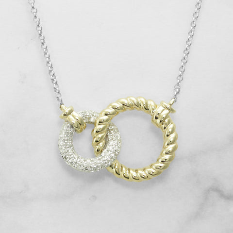 Gold and Diamond Interlocking Circles Pendant