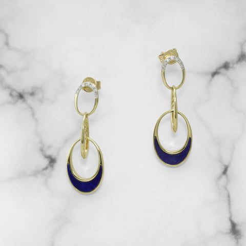 Yellow Gold and Lapis Drop Earings