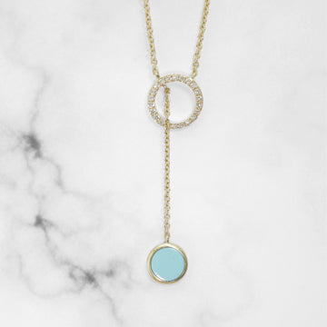 Gold Lariat with Turquoise and Diamond