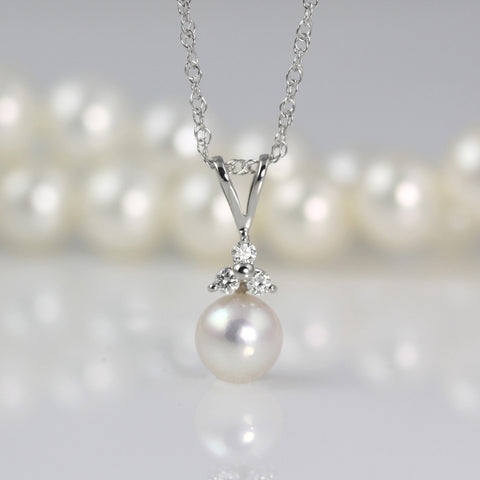 Akoya Pearl Pendant with Diamonds