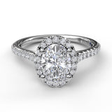 Delicate Oval Shaped Halo &  Pave Band Engagement Ring