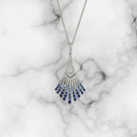 Sapphire and Diamond Fan Necklace