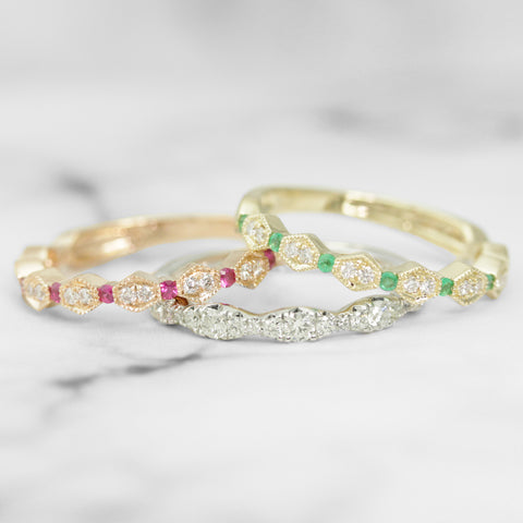 Stackable Gold and Gemstone Rings