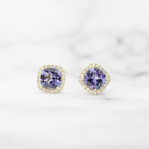 Rose Gold, Tanzanite, and Diamond Earrings