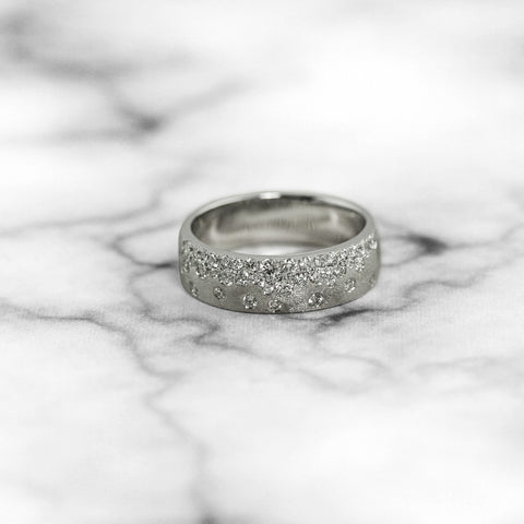 White Gold Scattered Diamond Band