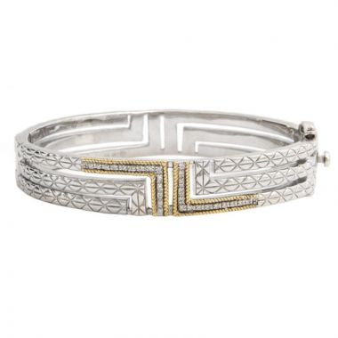 Sterling Silver and Yellow Gold Diamond Bangle