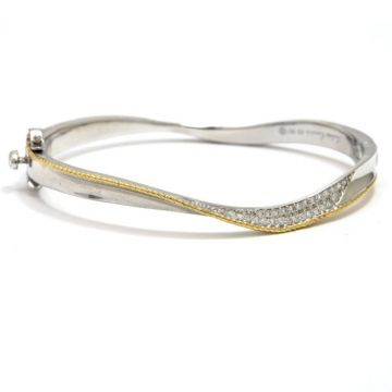 Sterling Silver and Yellow Gold Diamond Wave Bangle