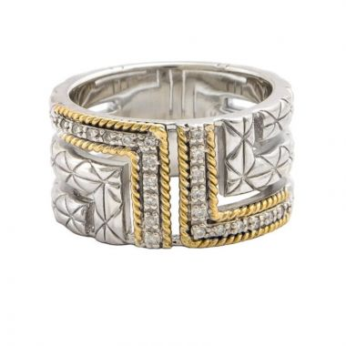 Sterling Silver and Yellow Gold Diamond Wide Band