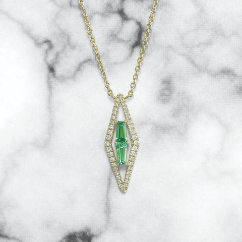 Green Quartz and Diamond Halo Pendant