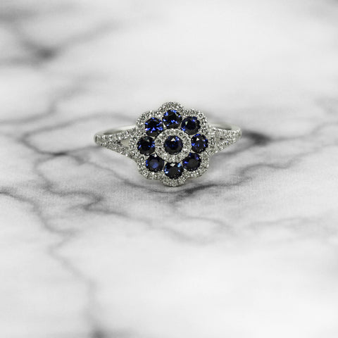 Sapphire and Diamond Floral Ring