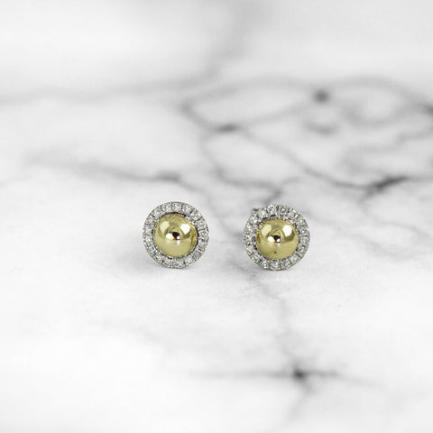 Yellow Gold Ball Earrings with Diamond Halo